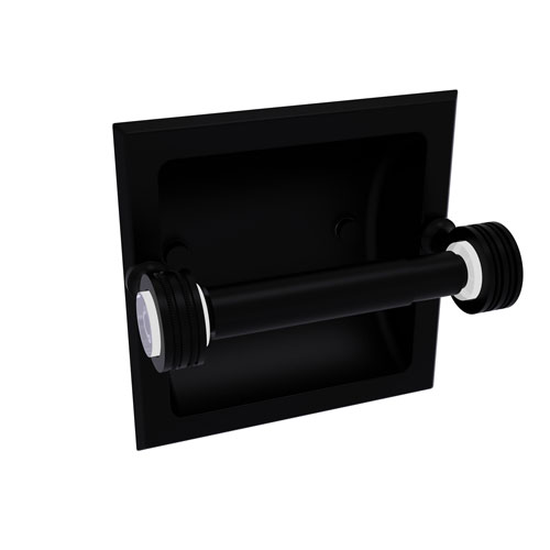 Pacific Grove Matte Black Six-Inch Recessed Toilet Paper Holder with Dotted Accents