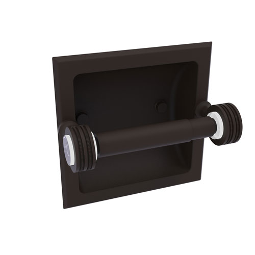Pacific Grove Oil Rubbed Bronze Six-Inch Recessed Toilet Paper Holder with Dotted Accents