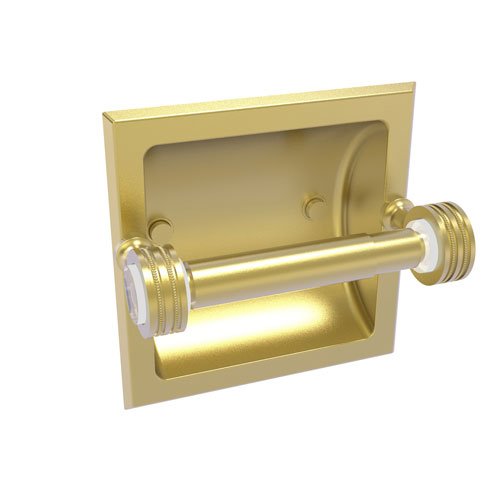Pacific Grove Satin Brass Six-Inch Recessed Toilet Paper Holder with Dotted Accents
