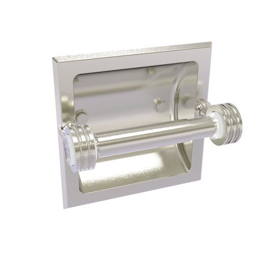 Pacific Grove Satin Nickel Six-Inch Recessed Toilet Paper Holder with Dotted Accents