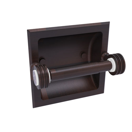 Pacific Grove Venetian Bronze Six-Inch Recessed Toilet Paper Holder with Dotted Accents
