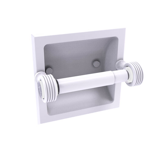 Pacific Grove Matte White Six-Inch Recessed Toilet Paper Holder with Groovy Accents