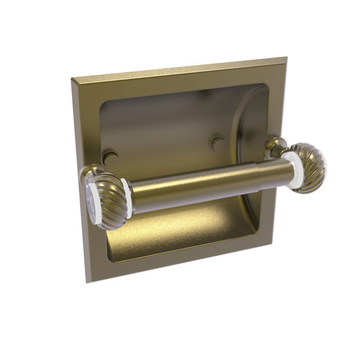 Pacific Grove Antique Brass Six-Inch Recessed Toilet Paper Holder with Twisted Accents