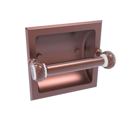 Pacific Grove Antique Copper Six-Inch Recessed Toilet Paper Holder with Twisted Accents