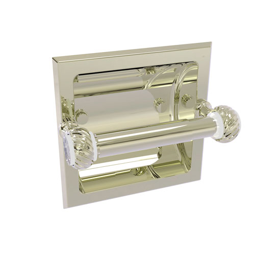 Pacific Grove Polished Nickel Six-Inch Recessed Toilet Paper Holder with Twisted Accents