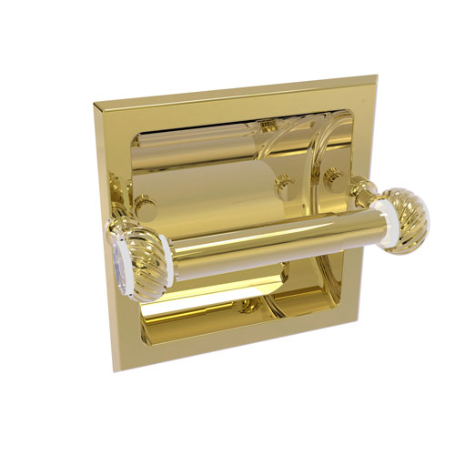 Pacific Grove Unlacquered Brass Six-Inch Recessed Toilet Paper Holder with Twisted Accents