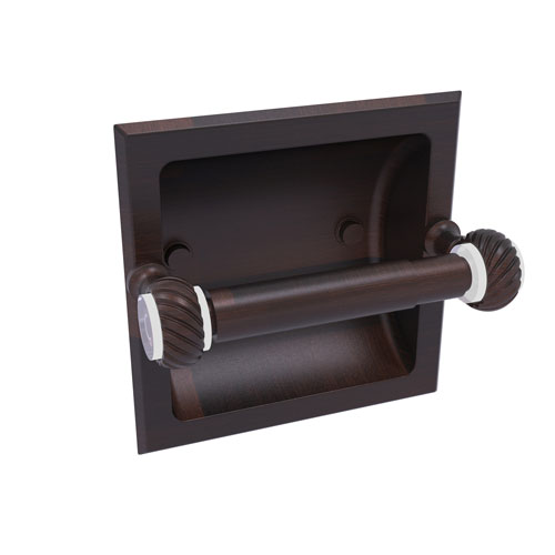 Pacific Grove Venetian Bronze Six-Inch Recessed Toilet Paper Holder with Twisted Accents