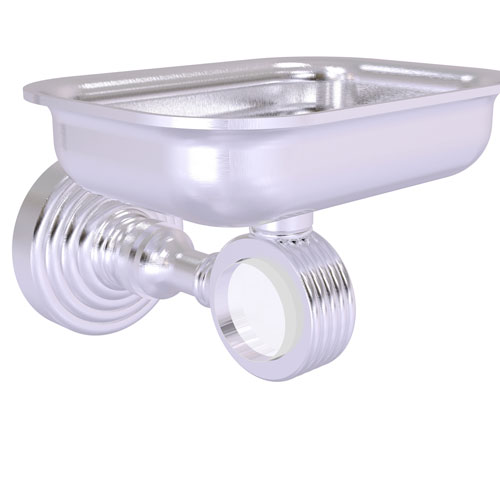Pacific Grove Satin Chrome Three-Inch Wall Mounted Soap Dish Holder with Groovy Accents