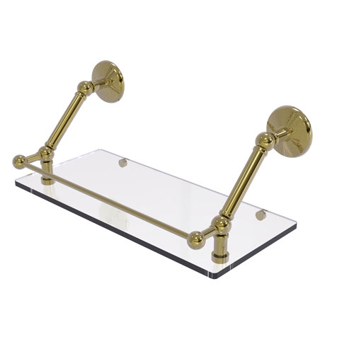 Prestige Monte Carlo Unlacquered Brass 18-Inch Floating Glass Shelf with Gallery Rail