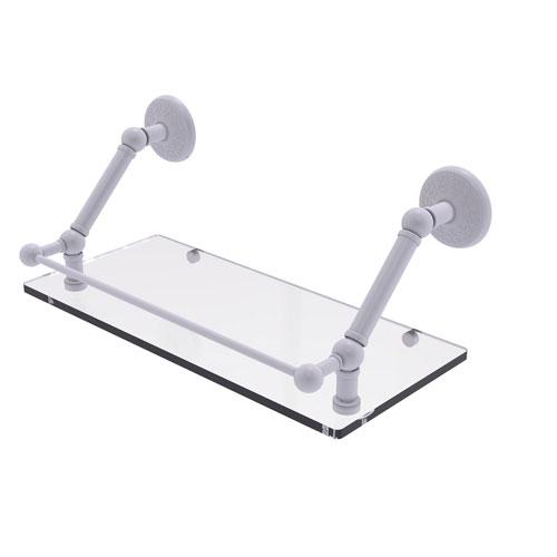 Prestige Monte Carlo Matte White 18-Inch Floating Glass Shelf with Gallery Rail