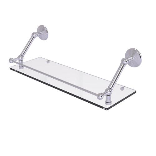 Prestige Monte Carlo Satin Chrome 24-Inch Floating Glass Shelf with Gallery Rail