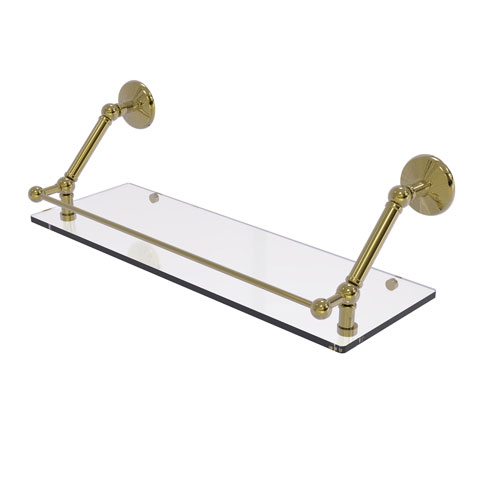 Prestige Monte Carlo Unlacquered Brass 24-Inch Floating Glass Shelf with Gallery Rail