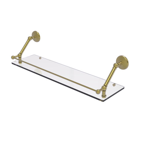 Prestige Monte Carlo Satin Brass 30-Inch Floating Glass Shelf with Gallery Rail