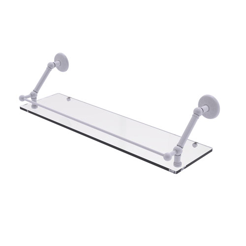 Prestige Monte Carlo Matte White 30-Inch Floating Glass Shelf with Gallery Rail