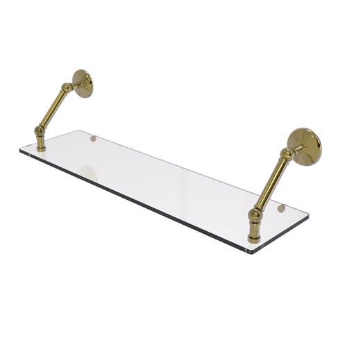 Prestige Monte Carlo Unlacquered Brass 30-Inch Floating Glass Shelf