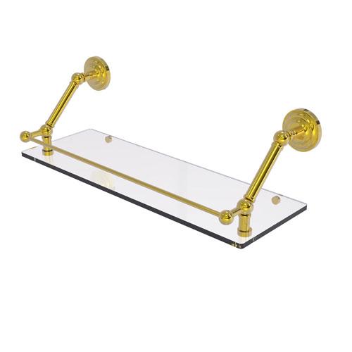 Prestige Que New Polished Brass 24-Inch Floating Glass Shelf with Gallery Rail