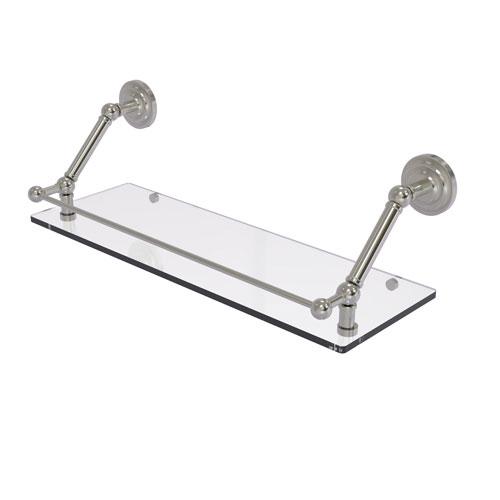 Prestige Que New Satin Nickel 24-Inch Floating Glass Shelf with Gallery Rail