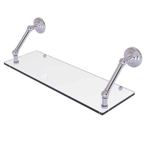 Prestige Que New Polished Chrome 24-Inch Floating Glass Shelf