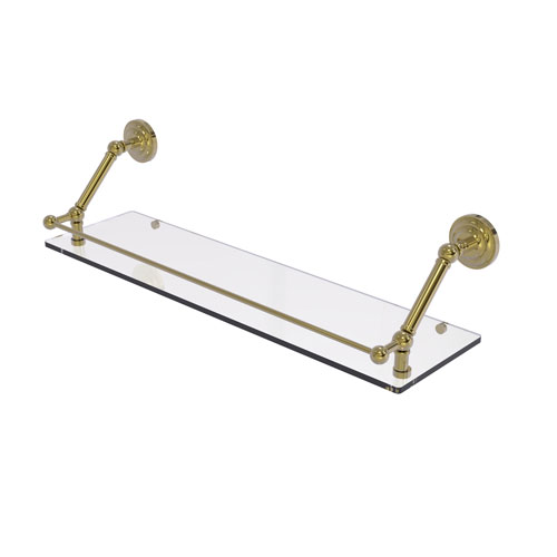 Prestige Que New Unlacquered Brass 30-Inch Floating Glass Shelf with Gallery Rail