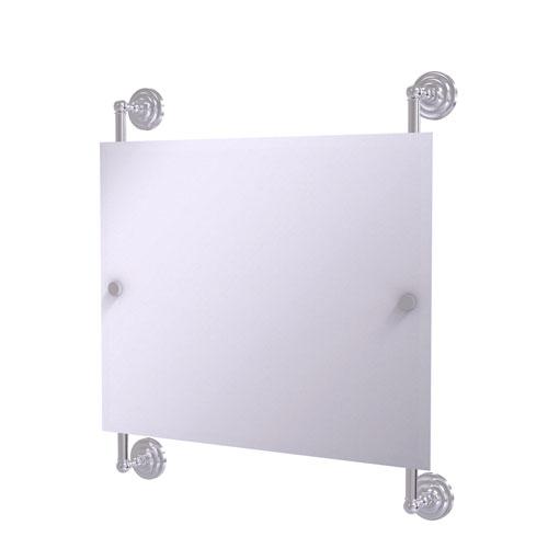 Prestige Que New Satin Chrome 26-Inch Landscape Rectangular Frameless Rail Mounted Mirror