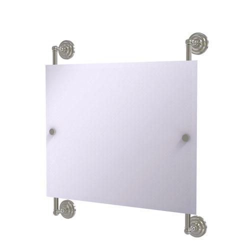 Prestige Que New Satin Nickel 26-Inch Landscape Rectangular Frameless Rail Mounted Mirror