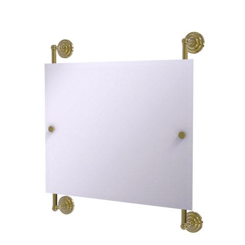 Prestige Que New Unlacquered Brass 26-Inch Landscape Rectangular Frameless Rail Mounted Mirror