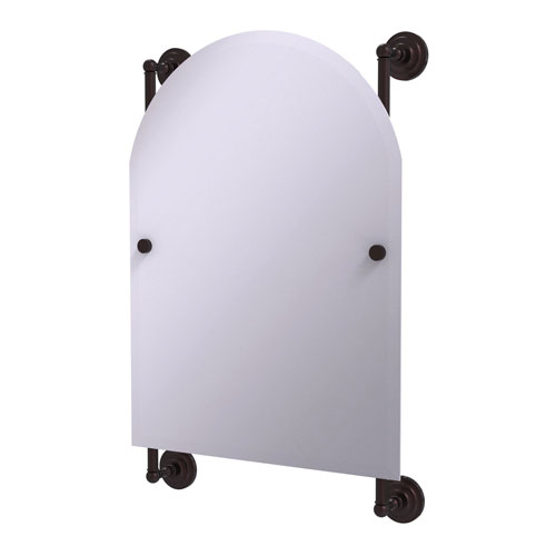 Prestige Que New Antique Bronze 21-Inch Arched Top Frameless Rail Mounted Mirror
