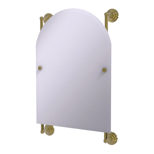 Prestige Que New Unlacquered Brass 21-Inch Arched Top Frameless Rail Mounted Mirror