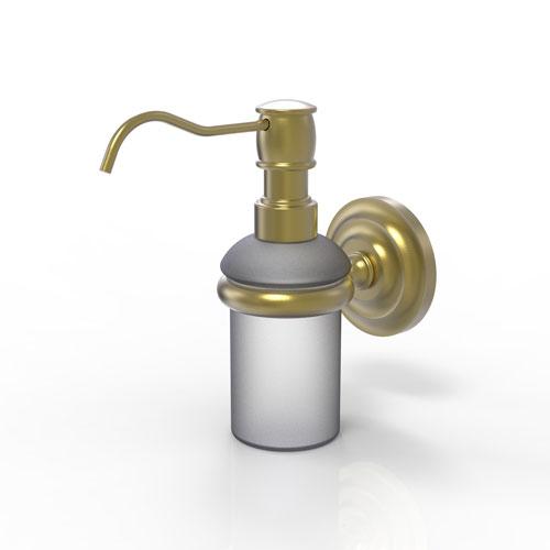 Prestige Que New Satin Brass Three-Inch Wall Mounted Soap Dispenser