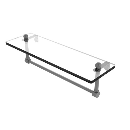 Prestige Regal Matte Gray 16-Inch Glass Vanity Shelf with Integrated Towel Bar
