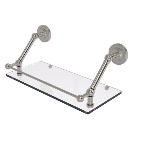 Prestige Regal Satin Nickel 18-Inch Floating Glass Shelf with Gallery Rail