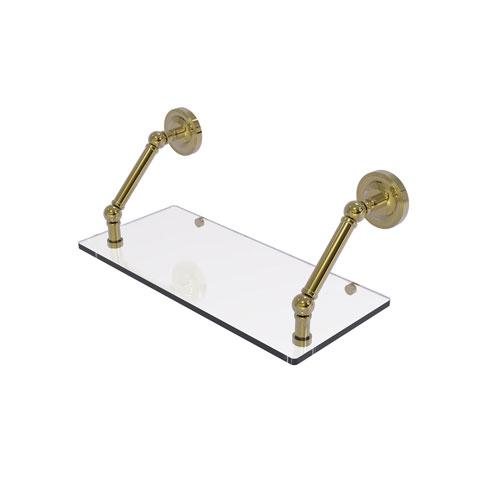 Prestige Regal Unlacquered Brass 18-Inch Floating Glass Shelf