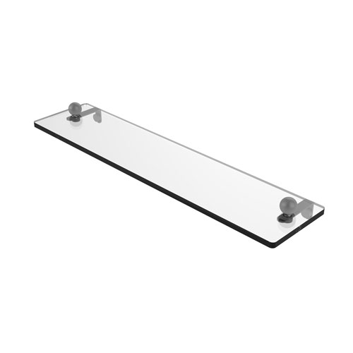 Prestige Regal Matte Gray 22-Inch Glass Vanity Shelf with Beveled Edges