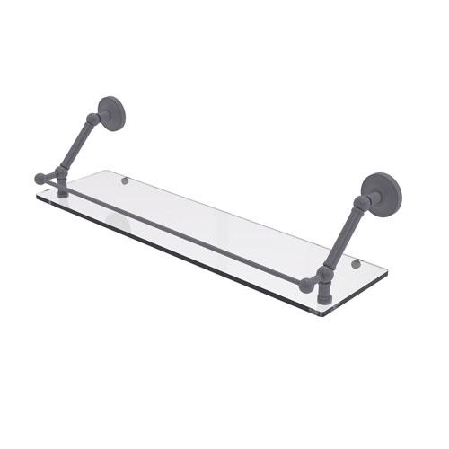 Prestige Regal Matte Gray 30-Inch Floating Glass Shelf with Gallery Rail