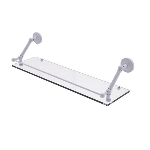 Prestige Regal Matte White 30-Inch Floating Glass Shelf with Gallery Rail