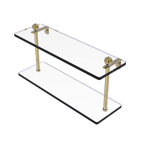 Prestige Regal Unlacquered Brass 16-Inch Two Tiered Glass Shelf
