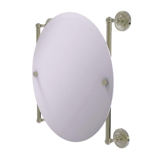 Prestige Regal Polished Nickel 22-Inch Round Frameless Rail Mounted Mirror
