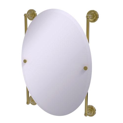 Prestige Regal Unlacquered Brass 21-Inch Oval Frameless Rail Mounted Mirror
