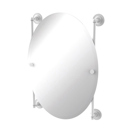 Prestige Regal Matte White 21-Inch Oval Frameless Rail Mounted Mirror