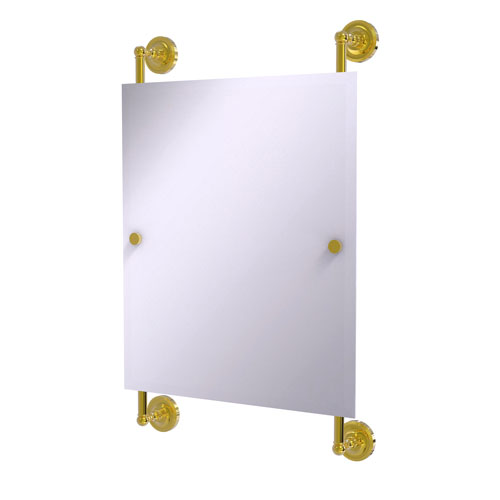 Prestige Regal Polished Brass 21-Inch Rectangular Frameless Rail Mounted Mirror