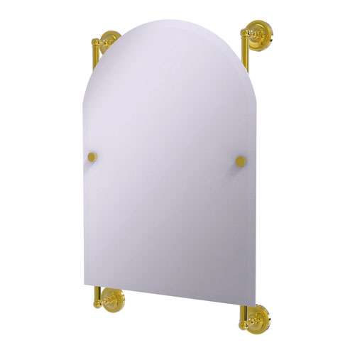 Prestige Regal Polished Brass 21-Inch Arched Top Frameless Rail Mounted Mirror