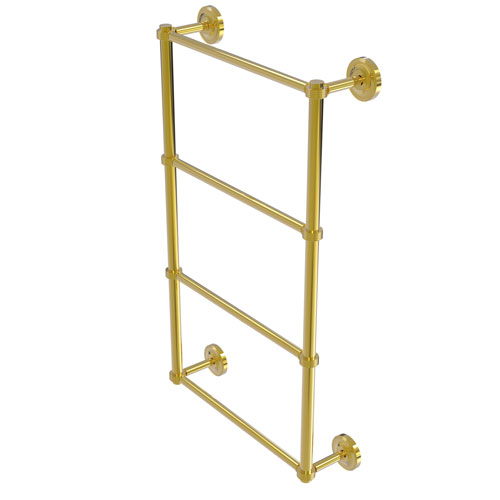 Prestige Regal Polished Brass 36-Inch Four Tier Ladder Towel Bar with Groovy Detail