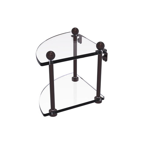 Prestige Regal Antique Bronze Eight-Inch Two-Tier Corner Glass Shelf