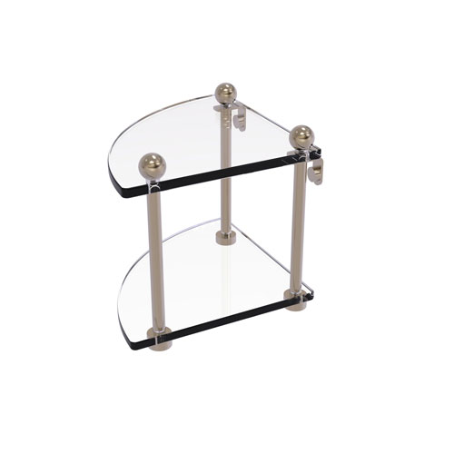 Prestige Regal Antique Pewter Eight-Inch Two-Tier Corner Glass Shelf