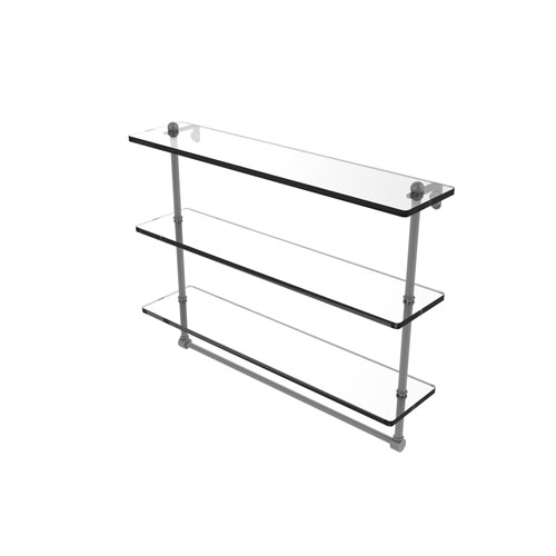 Prestige Regal Matte Gray 22-Inch Triple Tiered Glass Shelf with Integrated Towel Bar