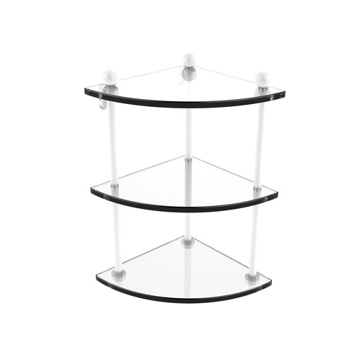 Prestige Regal Matte White Eight-Inch Three-Tier Corner Glass