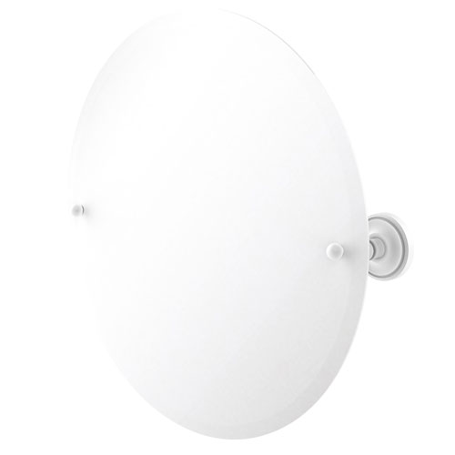 Prestige Regal Matte White 22-Inch Frameless Round Tilt Mirror with Beveled Edge
