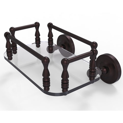Prestige Regal Antique Bronze Eight-Inch Wall Mounted Glass Guest Towel Tray