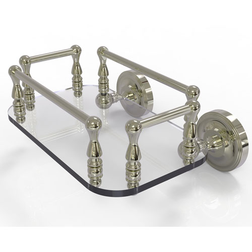 Prestige Regal Polished Nickel Eight-Inch Wall Mounted Glass Guest Towel Tray