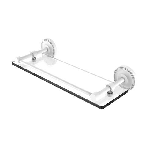 Prestige Regal Matte White 16-Inch Tempered Glass Shelf with Gallery Rail